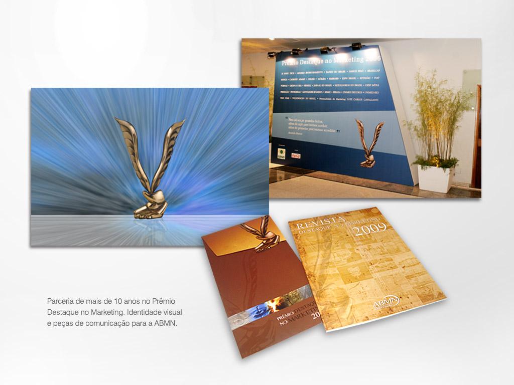 Parceria de mais de 10 anos no Prêmio Destaque no Marketing: Identidade visual e Peças de comunicação para a ABMN