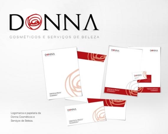 Logomarca e papelaria da Donna Cosméticos e Serviços de Beleza