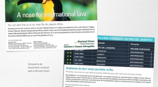 Campanha de lançamento no Brasil – Macleod Dixon